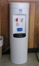 Specially equipped water cooler that has been adapted for use with R.O.'s